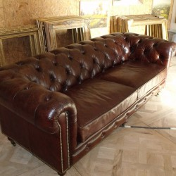 Chesterfield Marron 3 Places